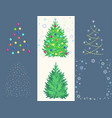 fir toy set with ball garland snowflake star vector image