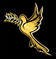 golub sa laurelom zlatni vector image