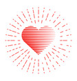 heart and red lines around vector image
