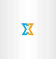 letter x orange blue icon sign vector image