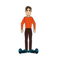 man riding hoverboard icon image vector image