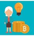 woman bit coin idea vector image