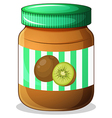 A bottle of kiwi jam vector image vector image