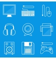 Blueprint icon set Computer vector image