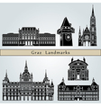 Graz landmarks and monuments vector image vector image
