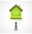 House repair icon Paint roller with green house vector image vector image