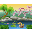 Cartoon funny mother duck with frog on the lily wa vector image