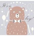 cute bear announces arrival of a baby boy vector image