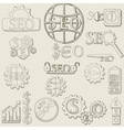 hand draw seo icons set vector image