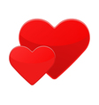 Two isolated red hearts on a white vector image
