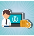 man laptop bitcoin online vector image