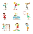 Creative Kids Practicing Different Arts And Crafts vector image
