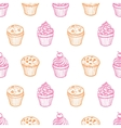 Seamless pattern with muffins and cupcakes vector image