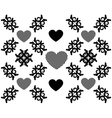 Hearts and floral pattern vector image