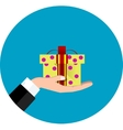hand giving present vector image