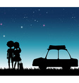 Silhouette couple at night time vector image