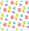 Abstract color hand prints seamless pattern vector image
