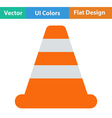 Flat design icon of Traffic cone vector image