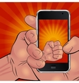 Hand holding phone and picturing sunrise vector image