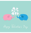 Happy Valentines Day Love card Pink blue elephants vector image
