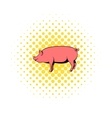 Pig icon in comics style vector image