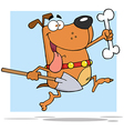 Running god with shovel and bone vector image vector image