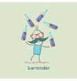 bartender juggling bottles of wine vector image