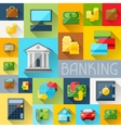 Background with banking icons in flat design style vector image