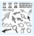 Set of Pixel Elements and Symbols Image vector image