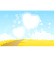 Yellow Landscape with Road and Heart Shape Clouds vector image