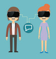 man and woman chatting via virtual reality glasses vector image vector image