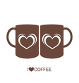 Two coffee cup with heart vector image vector image