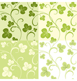 Set of seamless patterns from clover leaves vector image