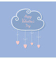 Happy Valentines Day Love card Cloud with hanging vector image