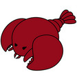 seafood lobster single red lobster with two claws vector image