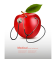 Stethoscope and red apple Medical background vector image