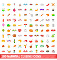 100 national cuisine icons set cartoon style vector image