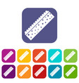 sponge for cleaning icons set flat vector image