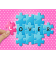 hands holding jigsaw puzzle pieces with words love vector image