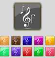 musical notes icon sign Set with eleven colored vector image