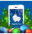 Christmas blue card with balls and cellphone vector image