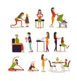 flat icons set of pregnant women mothers vector image