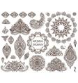 Big set of henna floral elements and frames vector image