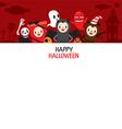 Halloween Cartoon Character On Frame Banner vector image