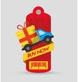 buy now tag price barcode truck delivery gift vector image