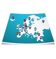 Europe map with flag pin vector image vector image