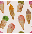 Seamless Pattern with Watercolor Ice Cream vector image