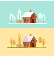 Autumn Winter House Family Suburban Home vector image