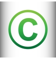 Copyright sign Green gradient icon vector image