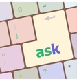 ask button on computer keyboard key vector image